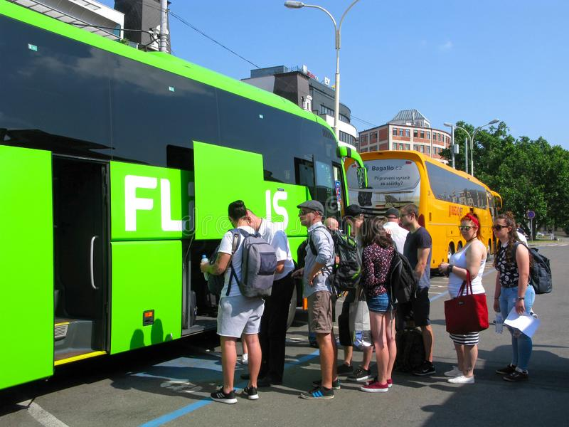 People, travel by bus, Flixbus royalty free stock photography