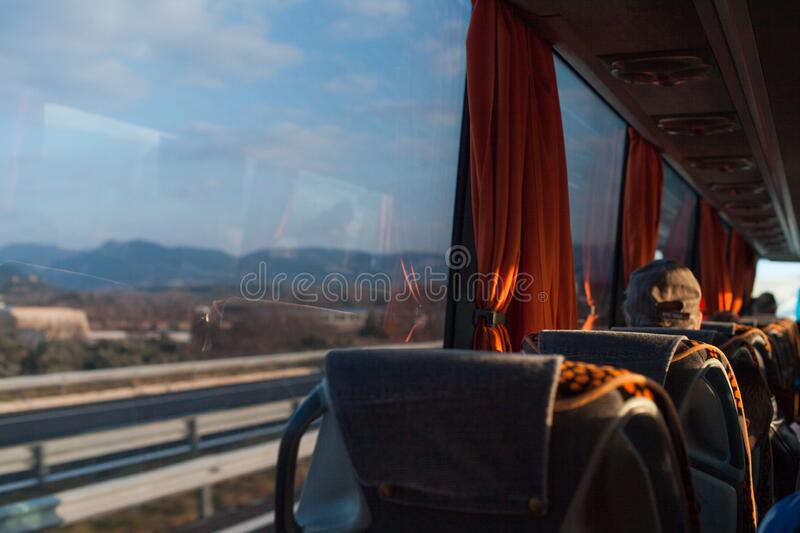 People in travel bus. transport, tourism, road trip stock photography