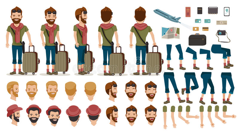 People travel. Man People Travel tourists creation set.animated character.at airport. Icons with different types of faces and hair style, emotions, front, rear stock illustration