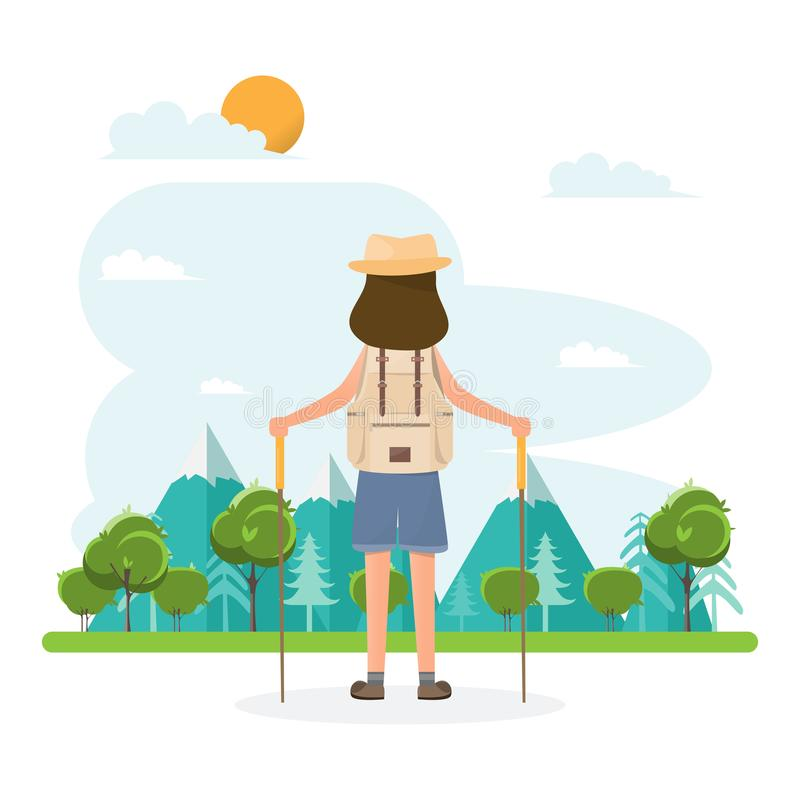 People travel. woman with backpack go to camping on a vacation vector illustration
