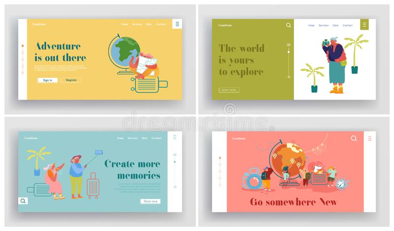 People Traveling Around the World Website Landing Page Set. Young and Senior Male and Female Characters Adventures stock illustration