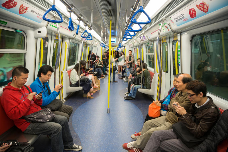 People traveling in the subway in Hong Kong royalty free stock photo