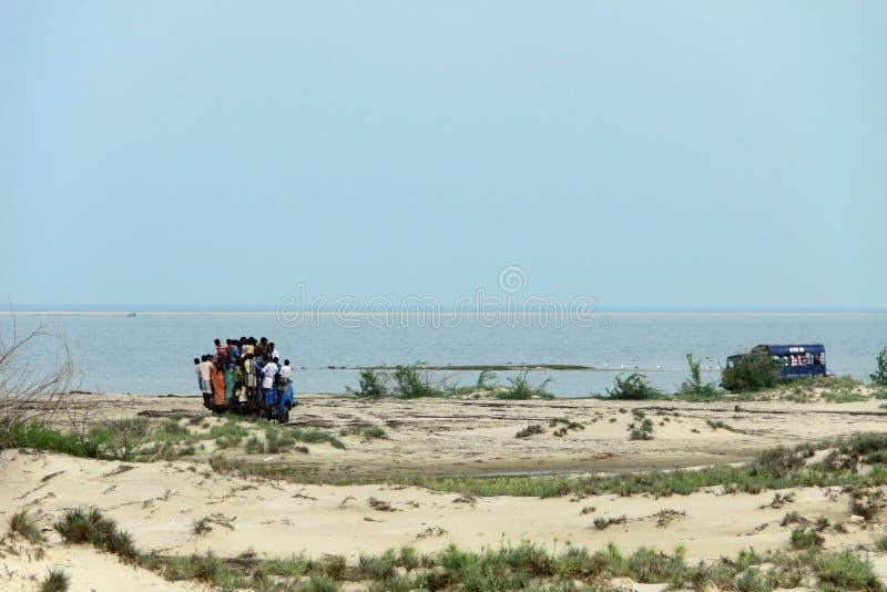 People travelling to Dhanushkodi stock images