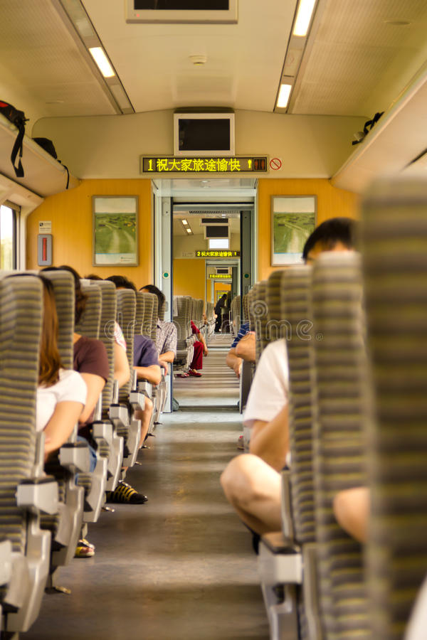 People travelling with train in China royalty free stock photo