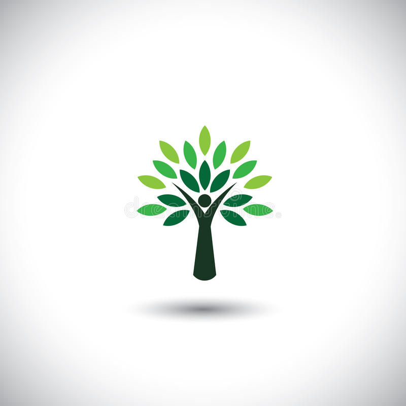 Download People Tree Icon With Green Leaves Stock Vector - Illustration of card, excited: 38681633