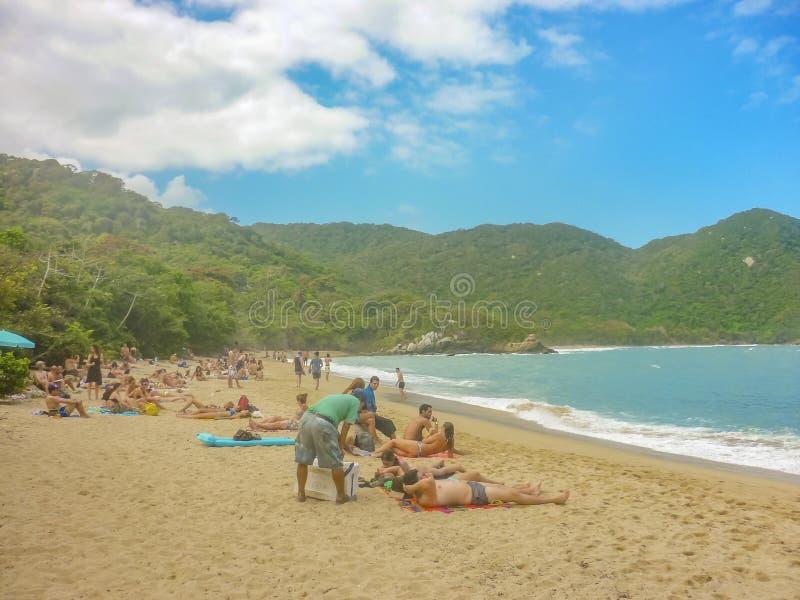 Download People At Tropical Beach Of Tayrona National Park Editorial Stock Photo