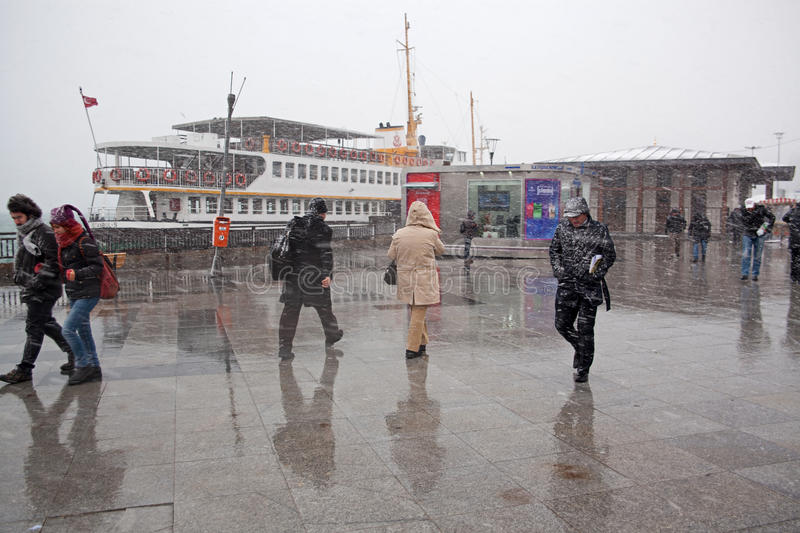 Download People Trying To Walk At The Snow Editorial Stock Photo - Image of istanbul, seaside: 35411148