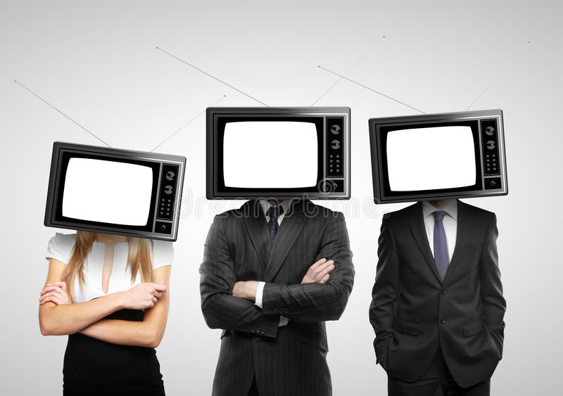 People with tv head. On a gray background royalty free stock images