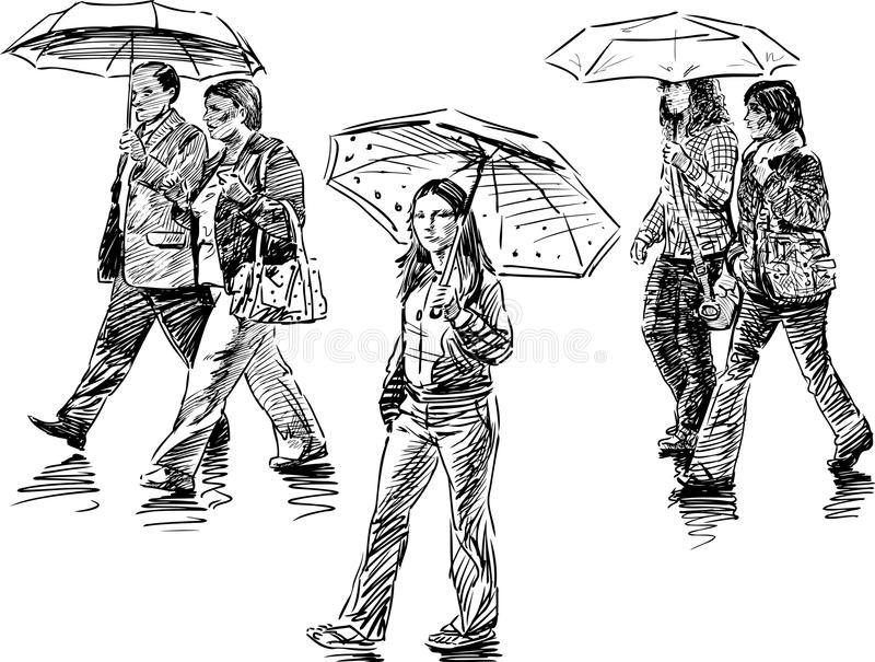 People with umbrellas. Vector drawing of the people under umbrellas royalty free illustration