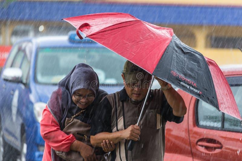 People under heavy monsoon rain stock image