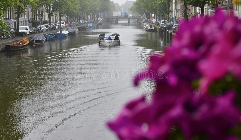 People under umbrellas enjoy boating on the Amsterdam canal. stock image