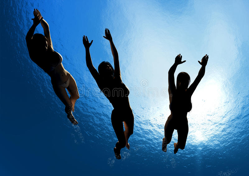 The people under water. stock illustration