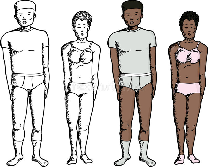 People in Underwear. Black male and female in modern underwear clothes royalty free illustration