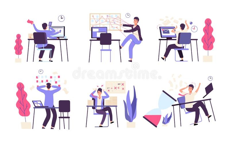 People unorganized. Men fail scheduled task efficiency productivity time management vector concept. Illustration of failure productivity, office businessman stock illustration