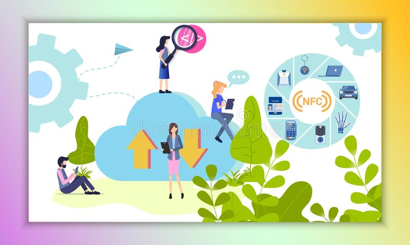 NFC Gadget Utilization Expansion Illustration. People Upload and Download Information use Cloud Exchange Storage Calculation. Manager with Magnifier control Work stock illustration