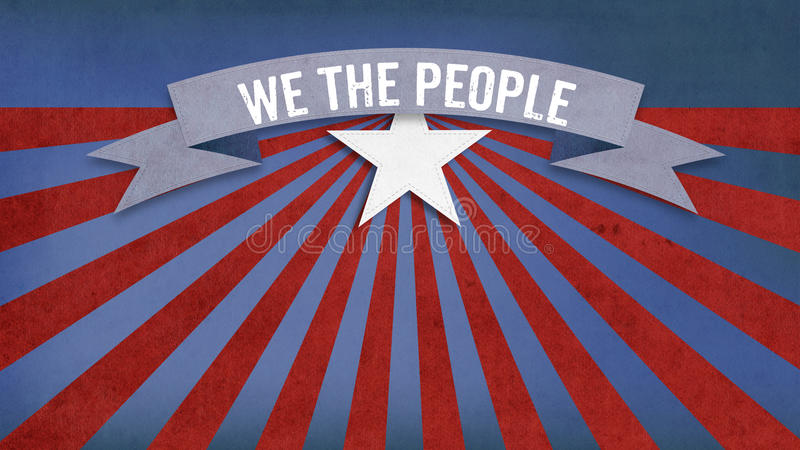 We the people, US American color scheme. We the People slogan from constitution of the USA on US American color scheme background vector illustration