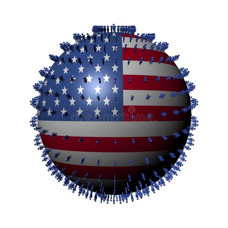 Download People on USA flag sphere stock illustration. Image of symbol - 19516730