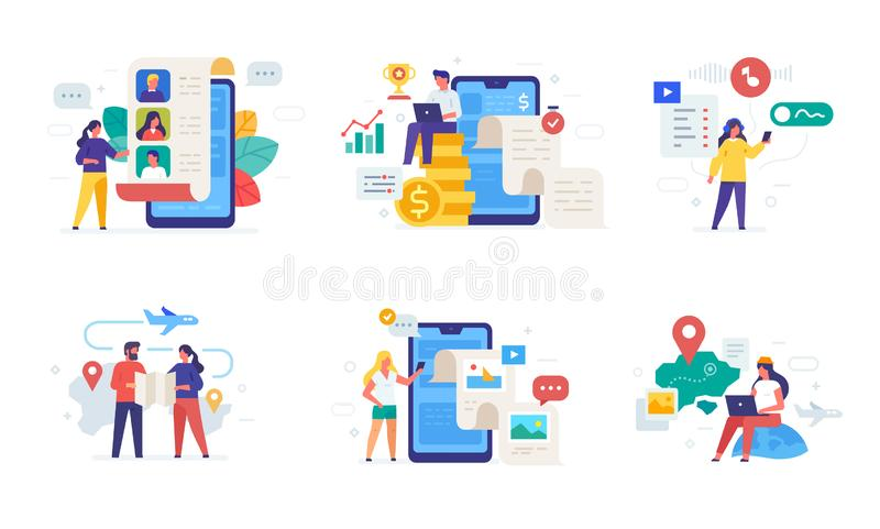 People use gadgets. set of icons, illustration. Smartphones tablets user interface social media.Flat illustration Icons. Infographics. Landing page site print vector illustration