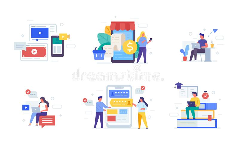 People use gadgets. set of icons, illustration. Smartphones tablets user interface social media.Flat illustration Icons. Infographics. Landing page site print stock illustration