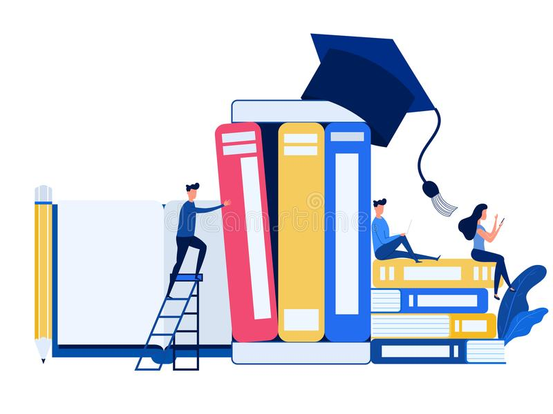 People use laptop, smartphone to learn e-learning online education. Education and knowledge online training courses,specialization. People use laptop, smartphone royalty free illustration