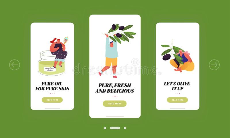 People Use Olive Oil for Eating and Cosmetics Mobile App Page Onboard Screen Set Tiny Characters Holding Ripe Olive ελεύθερη απεικόνιση δικαιώματος