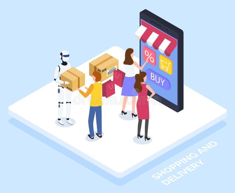 People Use Online Shopping, Robot Deliver Parcels stock illustration