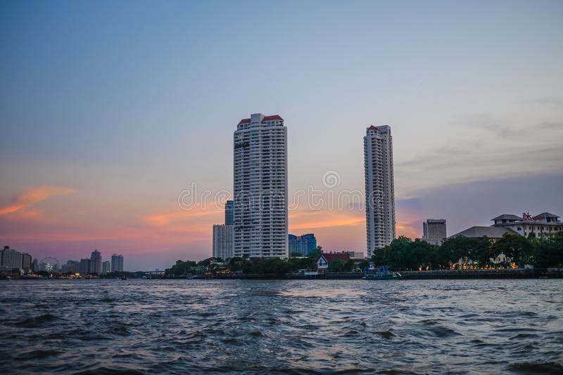 People use passenger boat to travel in Bangkok. Chao praya river,Bangkok,Thailand 13 Apr 2019: People use passenger boat to travel and commute in Bangkok stock photo