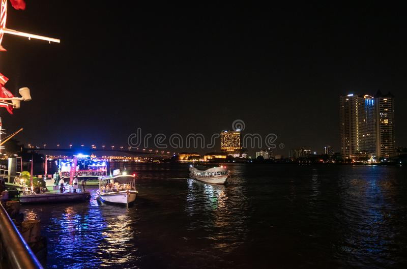 People use passenger boat to travel in Bangkok. Chao praya river,Bangkok,Thailand 13 Apr 2019: People use passenger boat to travel and commute in Bangkok royalty free stock images