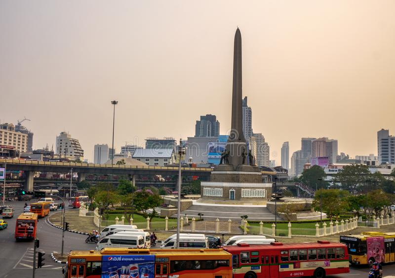 People use public transport for traveling at Victory monument royalty free stock photo