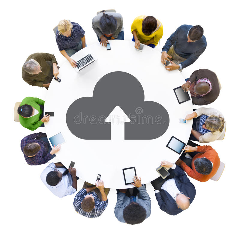 People Using Digital Devices with Cloud Symbol. Multiethnic People Using Digital Devices with Cloud Symbol stock illustration