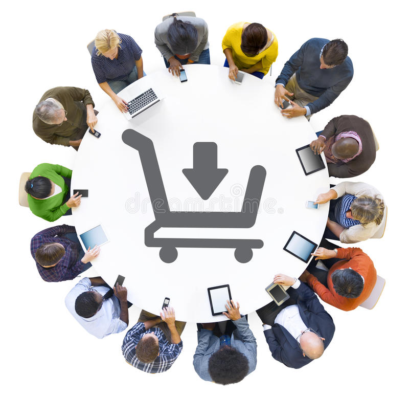 People Using Digital Devices with Shopping Cart Symbol.  stock illustration