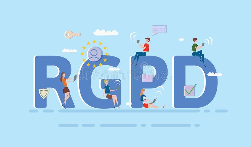 People using mobile gadgets and internet devices among big RGPD letters. GDPR, RGPD, DSGVO, DPO. Concept vector. People using mobile gadgets and internet devices stock illustration