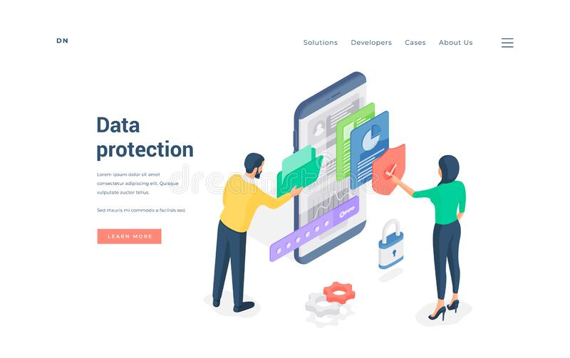 People using protected data man browsing folder while woman checking files on smartphone isometric vector illustration vector illustration