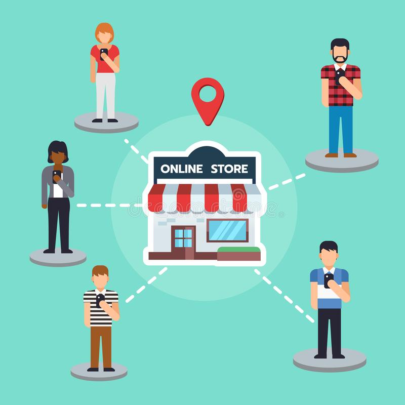 People using smartphone to buying product from store, online shopping concept vector illustration