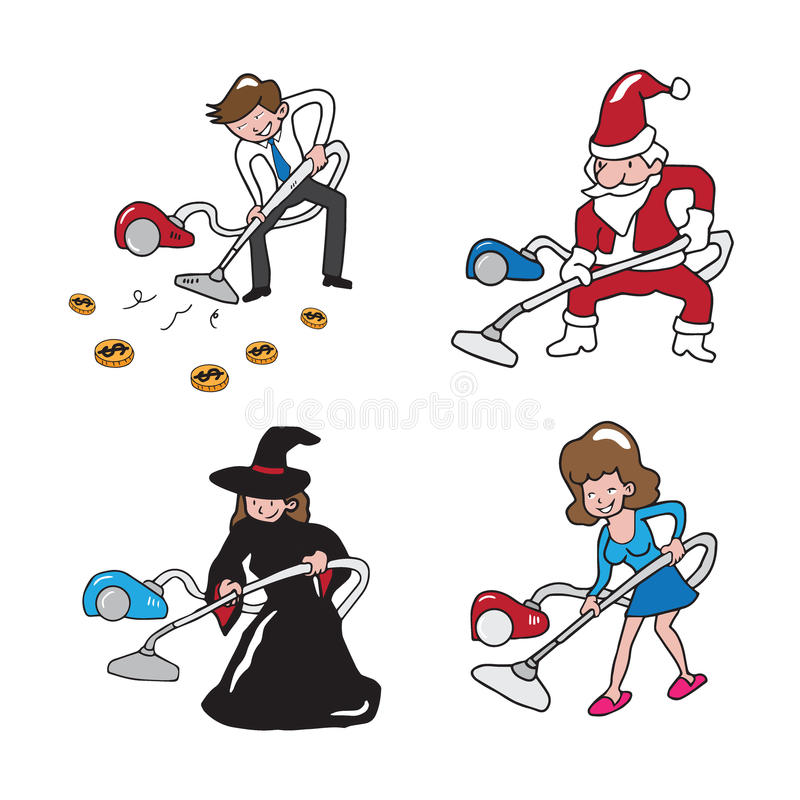 People vacuum cleaning vector illustration