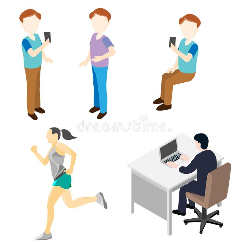 People in Various Activity - Flat Vector Illustration. People in Various Activity, mens, woman, worker, jogging for business and life style concept - Flat Vector royalty free illustration