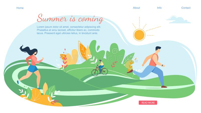 People in Various Outdoor Summertime Activity. Summer Coming Horizontal Banner Scene with Active Family Vacation. Happy People Characters in Various Outdoor vector illustration