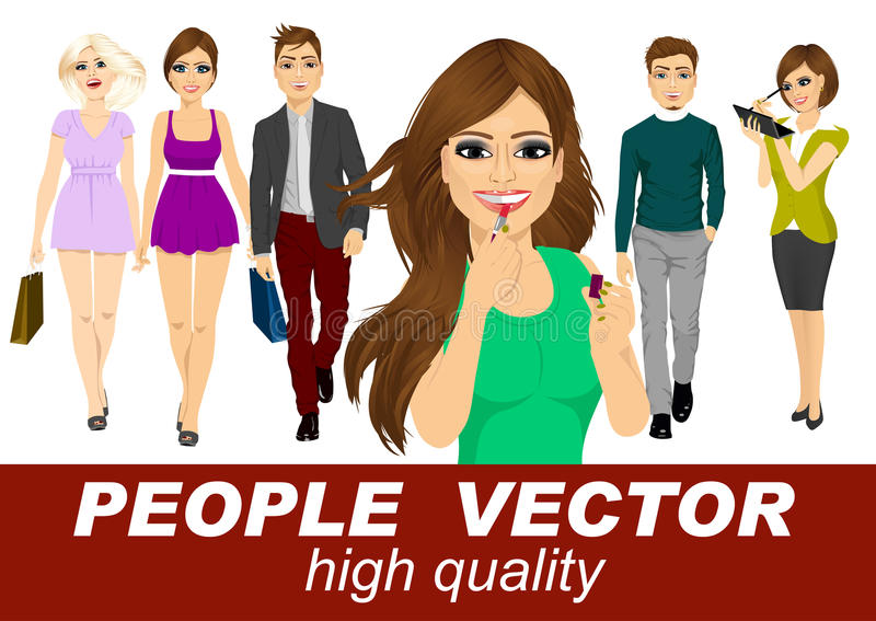 People vector with various characters stock illustration