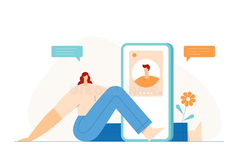 People video chatting concept, modern character profile on smartphone display. Online dating application, communication. Man and woman video chatting concept vector illustration