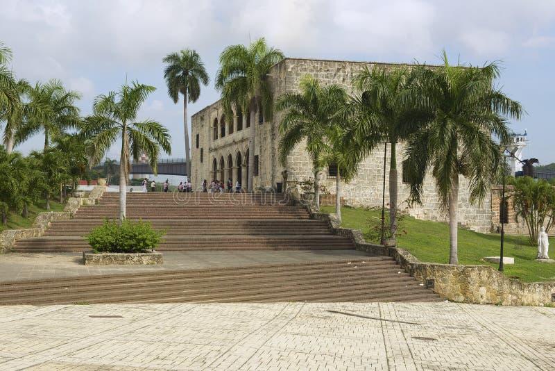 People visit the Alcazar de Colon in Santo Domingo, Dominican Republic. stock photo