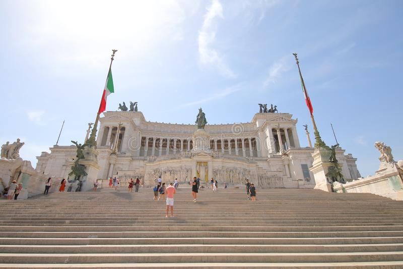 Altar of the Fatherland historical building Rome Italy. People visit Altar of the Fatherland historical building Rome Italy stock photography