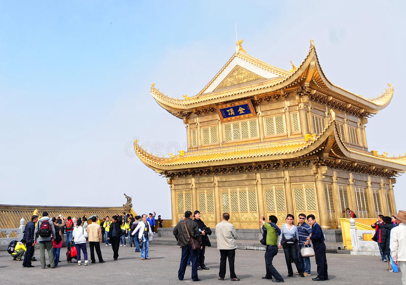People visit the golden pagoda in Emeishan, Sichuan, China stock photos