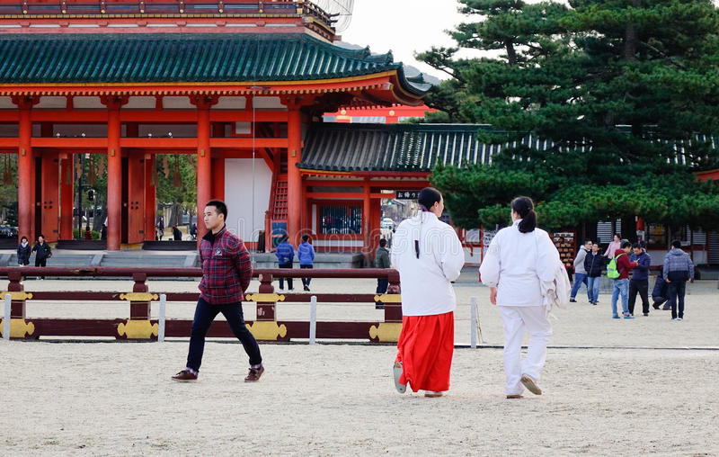 People visit the Heian Shrine in Kyoto, Japan royalty free stock photos