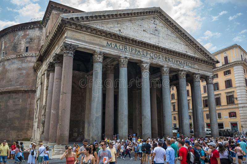 People visit the Pantheon is one of the main tourist attractions of Rome royalty free stock image