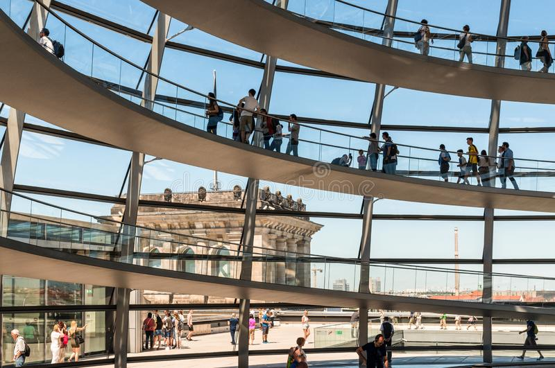 People visit the Reichstag dome in Berlin, Germany stock photography