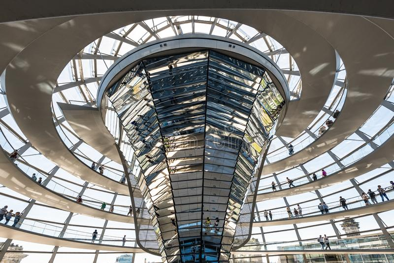 People visit the Reichstag dome in Berlin, Germany stock image