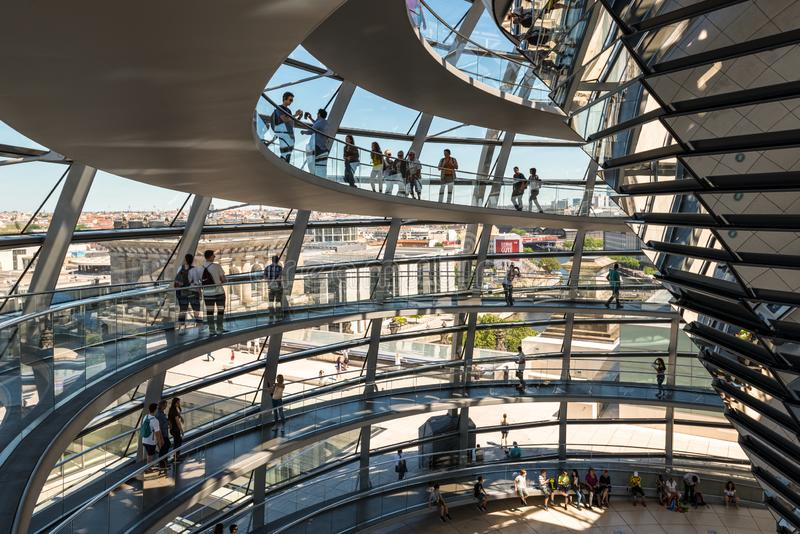 People visit the Reichstag dome in Berlin, Germany royalty free stock image