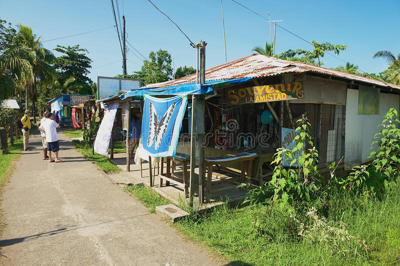 People visit small town of Tortuguero, Costa Rica. royalty free stock photography