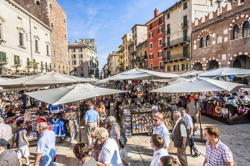 People visit the street markets in Verona stock photo