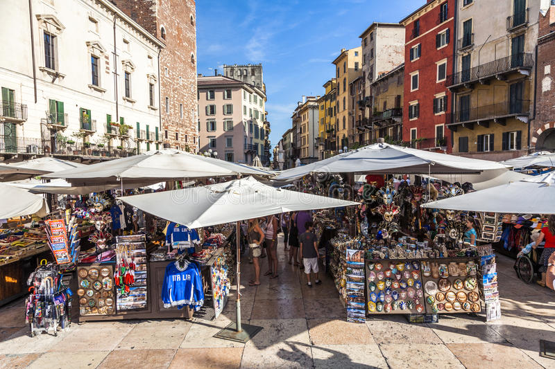 People visit the street markets in Verona royalty free stock images